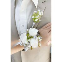 MADE IN USA-Corsage Boutonniere rose baby breath Prom Homecoming wedding
