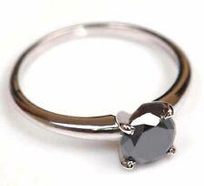 Birthday Ring Black Diamond Engagement Solitaire Silver 2.50 Carat IGL Certified