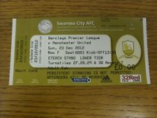 23/12/2012 Ticket: Swansea City v Manchester United [Complimentary] (complete).