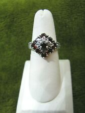BEAUTIFUL 9 STONE GARNET ANTIQUED SILVER UNIQUE LOOKING BAND SETTING RING 6-1/2