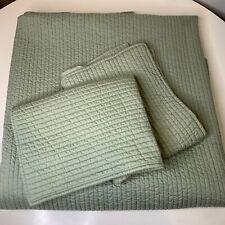 matelasse quilted coverlet bedspread blanket set color green striped 100% cotton