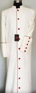 Clergy, Minister, Pastor, Preacher Men's Robe Cream with Red Trim