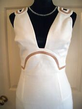VERSACE DAZZLING WHITE LOW CUT DRESS WITH NUDE PATENT TRIM SIZE 42 (UK 10)