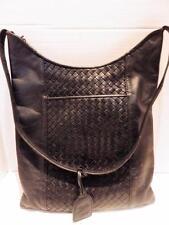 Vintage Nina Donna Black Woven Leather Shoulder Bag 1990s
