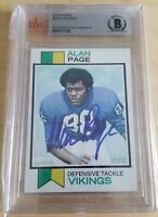1973 Topps ALAN PAGE signed football card #30 - BECKETT auto slabbed - Vikings