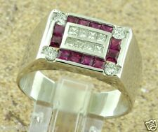2.70 ct 14k Solid White Gold Men's Natural Ruby Diamond Ring Princess Cut USA