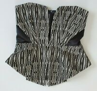 Thurley Womens Size 10 Black & White Strapless Pattern Peplum Cocktail Party Top