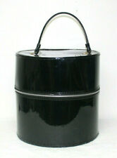 Vintage Hat Wig Case Black Travel Box Faux Patent Leather Zipper 13� x 13""