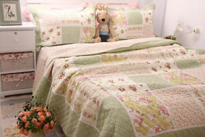Country Cottage Green Floral 100% Cotton Bedspread Quilt Coverlet Shabby Chic