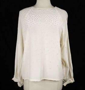 Vintage 90s Paul Alexander 100% Silk Ivory Blouse L Trypophobia Embroidered Dots