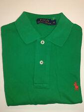Ralph Lauren Long Sleeve Cotton Mesh Polo Shirt Green Medium Classic Fit
