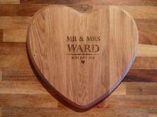 Personalised Heart Shaped Oak Chopping Board: Romantic Valentines, Wedding Gift