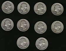 Lot of 10 Washington Silver Quarters Coins From 1940-1949 FREE Shipping