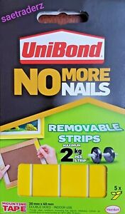 UNIBOND NO MORE NAILS REMOVABLE STRIPS 5 Pack 20x40mm DOUBLE SIDED INDOOR -USE