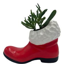 "Vintage Red Santa Boot Planter Succulent Flower Pot 8"""