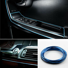 5M Chrome Blue Flexible Car Interior Moulding Trim Strip Line Decor Gap Filler