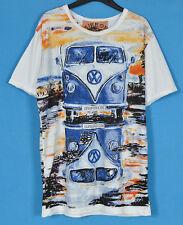 Classic Volkswagen Bus on The Road Art  Short Sleeve Cotton T-Shirt Men L NEW