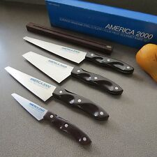 Set/4 CHEFS KNIVES Vanadium GOURMET CUTLERY w/RACK   AMERICA 2000   Super Nice