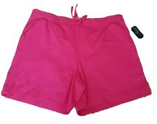 Karen Scott Sport Womens Plus Bermuda Drawstring Shorts Pink 1X.  (DH9)