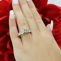 Round Diamond Solitaire Semi Mount Ring Heart & Baguette Accents 14K White Gold