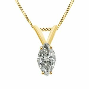 2 Ct Marquise Simulated Diamond 10K Yellow Gold Solitaire Pendant With Chain