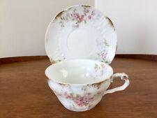 Vintage Haviland Limoges France Cup & Saucer TROCADERO Pink Florals Gold Trim
