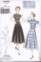 Vintage 1951 Vogue Sewing Pattern Misses' Dress & Belt Size 8 - 24 V9000