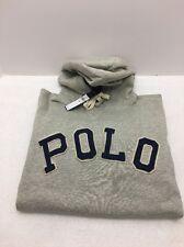 Polo Ralph Lauren Cotton Blend Fleece Hoodie Gray Varsity Lettering SZ M NWT