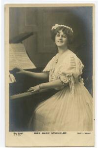 c 1905 British Edwardian Theater Actress MARIE STUDHOLME Piano photo postcard