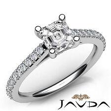 Double Prong Set Asscher Diamond Anniversary Ring GIA H SI1 Platinum 950 1.03Ct