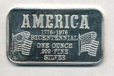 "1976 ""America"" Bicentennial 1 oz .999 Fine Silver Bar Exact Shown"