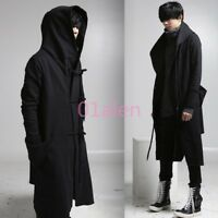 Fleece Punk Hooded Personality Outwear Hip-Hop Mens Gothic Trench Coat Jacket