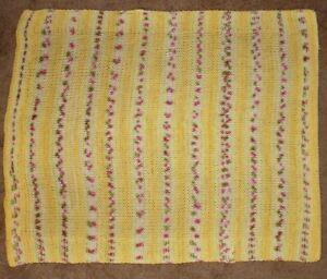 Handmade Crochet Afghan Blanket Throw Yellow/Purple Floral 32 x 40