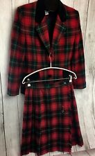 Norton Mcnaughton Skirt Suit Set Sz 10 Red Green Black Plaid Wool Blend