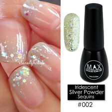MAX 7ml Nail Art Color UV LED Soak Off Gel Polish #002-Iridescent Silver Powder