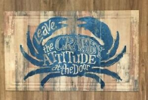 BLUE CRAB LEAVE CRABBY ATTITUDE AT THE DOOR  New Beach House Welcome Mat Indoor