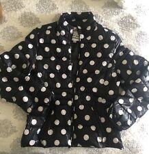 Justice Puffer Coat Size 12 Girls/black & White Polka Dot/lighweight