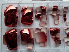 70pk Red Metallic Nail Tips Party Nails Short fingernails, Toe Nail Tips +