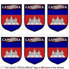 CAMBODIA Cambodian Shield Kampuchea, Mobile Cell Phone Mini Stickers, Decals x6