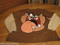 Boys Youth Looney Tunes L Tazmania Taz Devil Tasmanian brown long sleeve T shirt