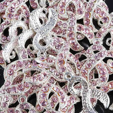 50Pc Crystal Rhinestone Pink Ribbon Spacer Beads Charms Breast Cancer Awareness