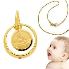 Mädchen Rubin Edelstein Taufring mit Schutz Engel Echt Gold 333 mit Silber Kette
