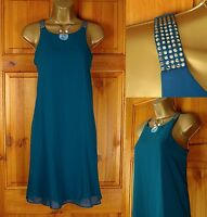 NEW NEXT TEAL BLUE JEWEL SHOULDER FLOATY SUMMER TUNIC DRESS UK SIZE 8-18