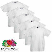 5 Pack Fruit of the Loom Cotton White School PE Boys Girls T Shirts Wholesale