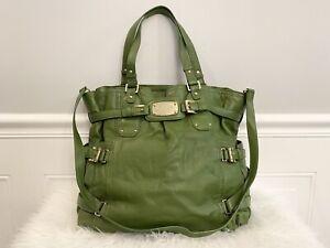 $498 MICHAEL KORS MK Gansevoort Green Leather Gold Logo Signature NS Tote Bag