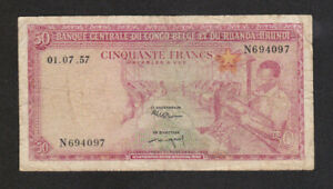 50 FRANCS VG BANKNOTE FROM BELGIAN CONGO 1957 PICK-32  RARE