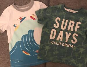 BOYS t shirts lot of 2, Old Navy SURFS UP, H & M Surf Days California,sz  4T EUC