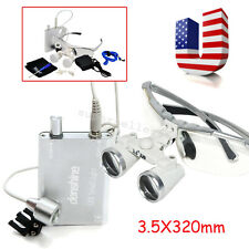 US 3.5X Dental Loupes 320mm lab Surgical Binocular Optical Glass Head Light Lamp