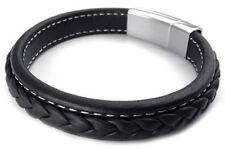 pulsera joyeria hombres, brazalete acero inoxidable cuero, negro F2P9