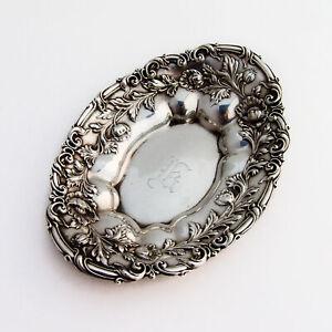 Repousse Poppy Bon Bon Candy Dish International Sterling Silver Mono K